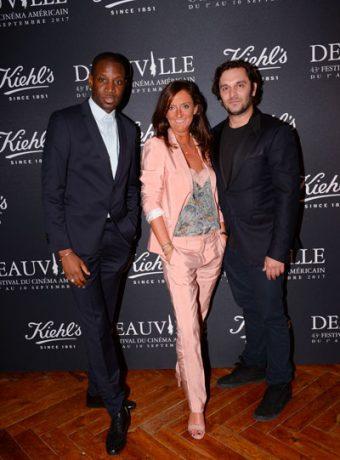 Festival du film Américain de Deauville : Anne-Gaëlle Kerdranvat (Dg Kiehl's-France) entourée de Abd Al Malik & Pio Marmai